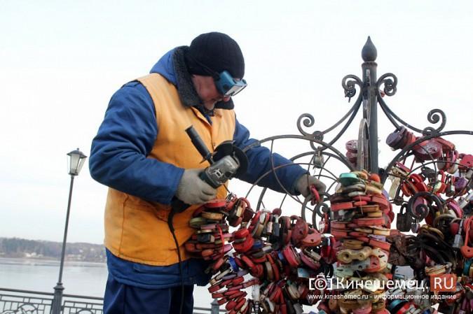 Мэрия Кинешмы дала указание срезать замки с «дерева любви» на Волжском бульваре фото 9