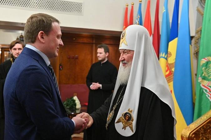 На фото: Патриарх Кирилл и Евгений Горбачев
